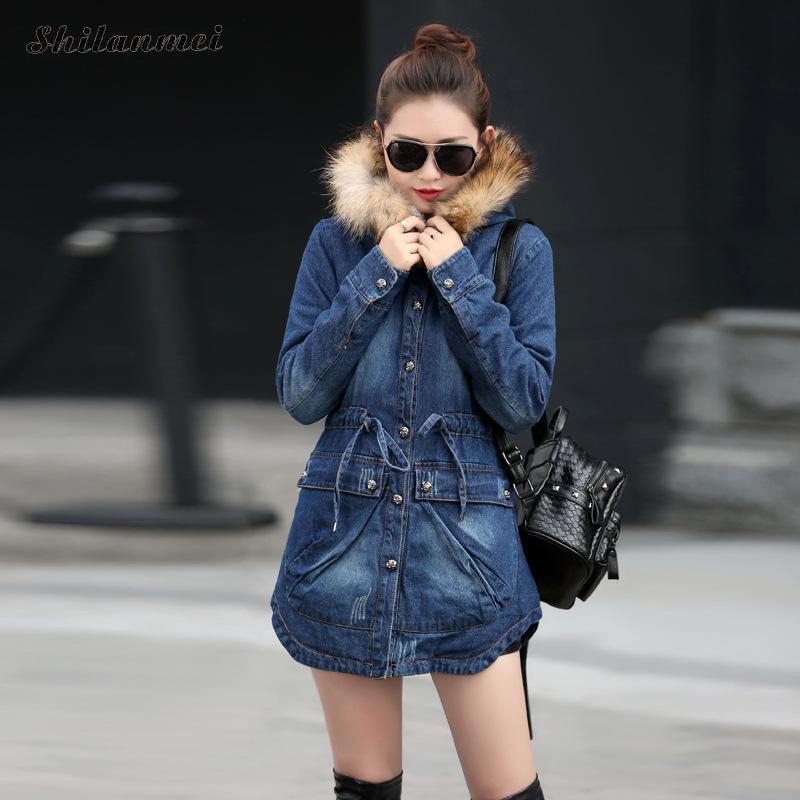 Parkas D'hiver À Nouveau Fausse Coton Jeans Matelassé Épais Manteau Denim Outwear Longues En Fourrure Vestes Capuchon Grand Pardessus Chaud Casual Femmes 8nqHq5wS
