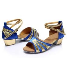 Ballroom Salsa Tango Latin Low Heels Professional Dancing Shoes for Girls Women W15