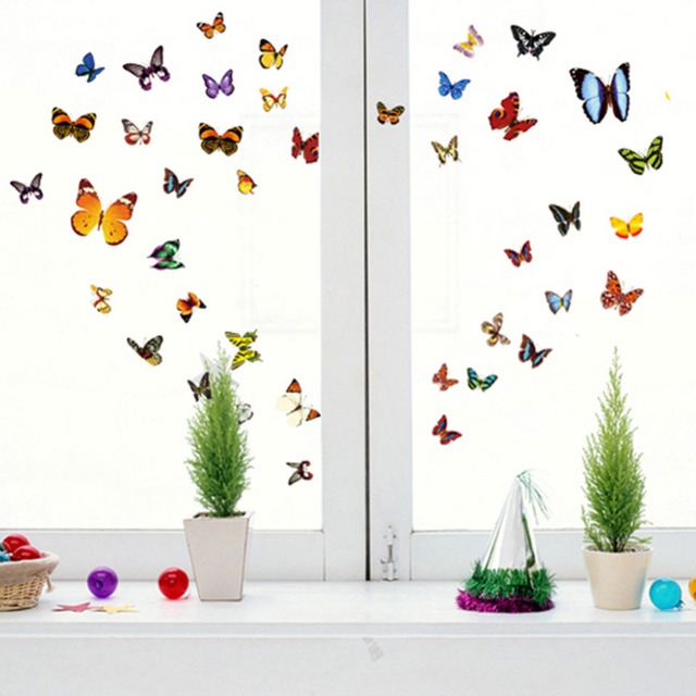 New Plenty Beautiful Butterfly Wall Stickers Home Party Decoration Nice Butterfly  Wall Sticker Size 30*