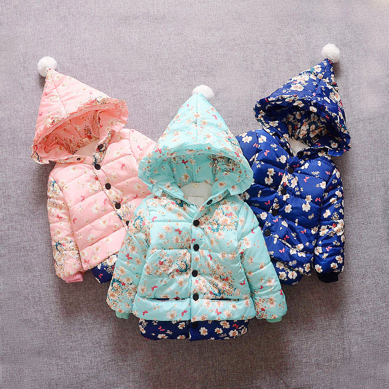New 2017 Autumn & Winter Children cartoon Hoodies Jacket & Coat Baby Girls Clothes Kids Toddle Outerwear Warm Coat Age 1-4T