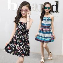 For 6 8 10 12 14 Years Girls summer clothes beach Bohemia Style Floral Print cotton dress Backless baby Girl Children dresses