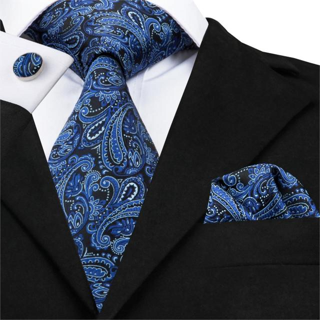 21f82a8dd1f9 SN-1719 Deep Blue Floral Classic Mens Ties For Men's Suit Wedding Business  Party Tie
