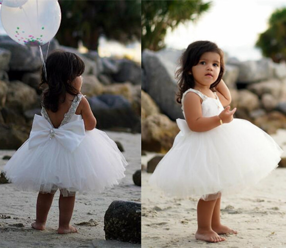 801c34afbdb Puffy soft tulle white ball gown tutu flower girl dress sweetheart backless  rhinestones tea party outfit for photoshoot wedding