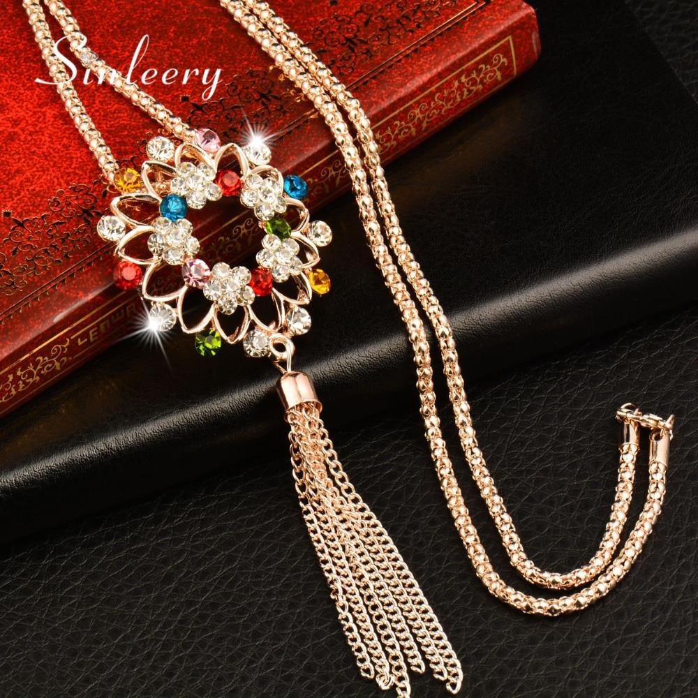 ÖSSZERŰSŐ Charm strasszos virág címer medál hosszú nyaklánc női lánc nyaklánc Boho divat ékszer kiegészítők My288