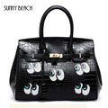 women large casual bags funny big eyes bags leather handbags  Crocodile lock  sequins bolsa tote women messenger bags