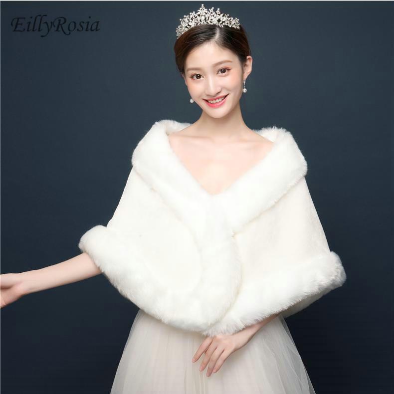 EillyRosia Women Bolero Bridal Faux Fur Wraps For Wedding Evening Capes Prom Jacket Coat Winter Fur Shawl Wedding Boleros