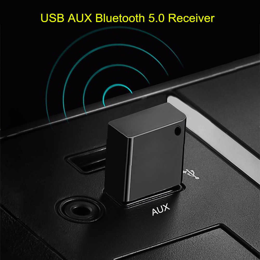 USB AUX Bluetooth 5.0 Car Kit Draadloze Audio Ontvanger USB Dongle Adapter voor Autoradio MP3 Speler Draadloze Mouss Geen 3.5mm Jack