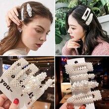 Korean Style Elegant Pearl Hair clip Geometric Rectangle Hairpins Girls Barrettes Wedding Engagement Accessories Gift