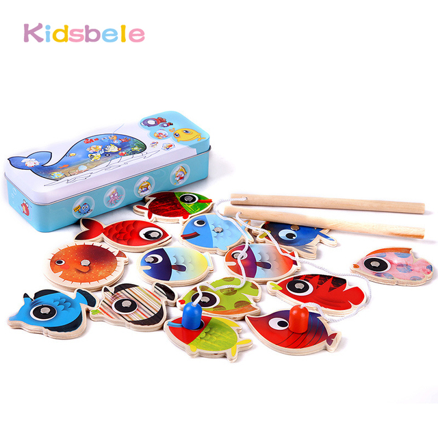 Kids Fishing Toy Wooden Magnetic Pesca Play Game 14 Fishes+2 Fishing Rods Kids Early Learning Educational Montessori Toy