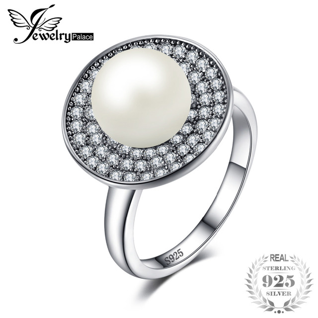 JewelryPalace Luxury 7mm Freshwater Cultured White Pearl Halo Ring 925 Sterling