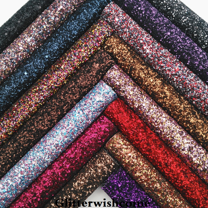 Glitterwishcome 21X29CM A4 Size Synthetic Leather, Matt Chunky Glitter Leather, Faux PU Leather Fabric Vinyl For Bows, GM042A