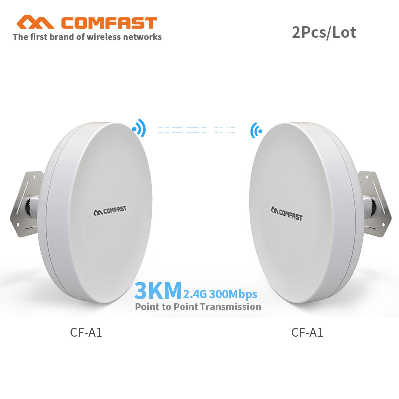 2pcs 1-3KM Long Range Outdoor CPE 300Mbps Wireless Access Point Bridge CF-A1 Wifi Repeater& Extender Amplifier Elevator Monitor