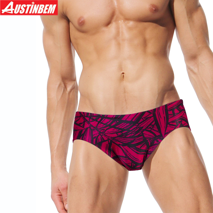 AUSTINBEM rose leaf Mens Swimsuit sport spra mens swim briefs Printed Beach spa swimming ...