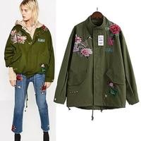 2017 New Sale Autumn Coat Women Soild color Army Green Embroidery Warm Jacket Fashion patches Rivet Zipper Retro Parkas Coat