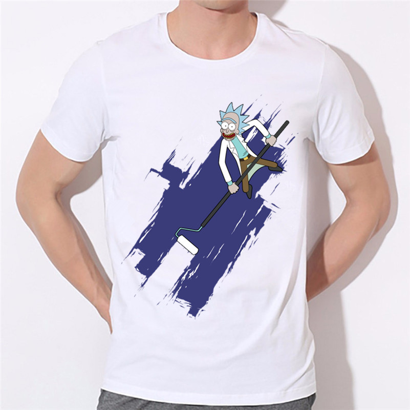 Ready Stock,2018 Mens Ricka and Morty Print Funny Design Tshirt Summer O Neck Short Sleeve White Cartoon Tee Shirt,HCP1754