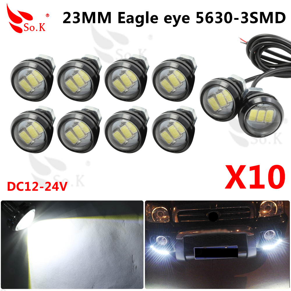 10pcs/lot Parking light 23mm Eagle Eye led car lights DRL Daytime Running Light 12V 9W Fog Tail lamp Waterproof Reverse Lamp tonewan new arrive 2pcs waterproof car drl led eagle eye light 10w car fog daytime running light reverse backup parking lamp