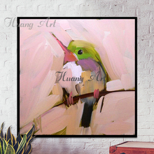 Фотография Artist Hand-painted High Quality Textured Knife Bird Oil Painting on Canvas Small Animal Baby Bird Oil Painting for Living Room