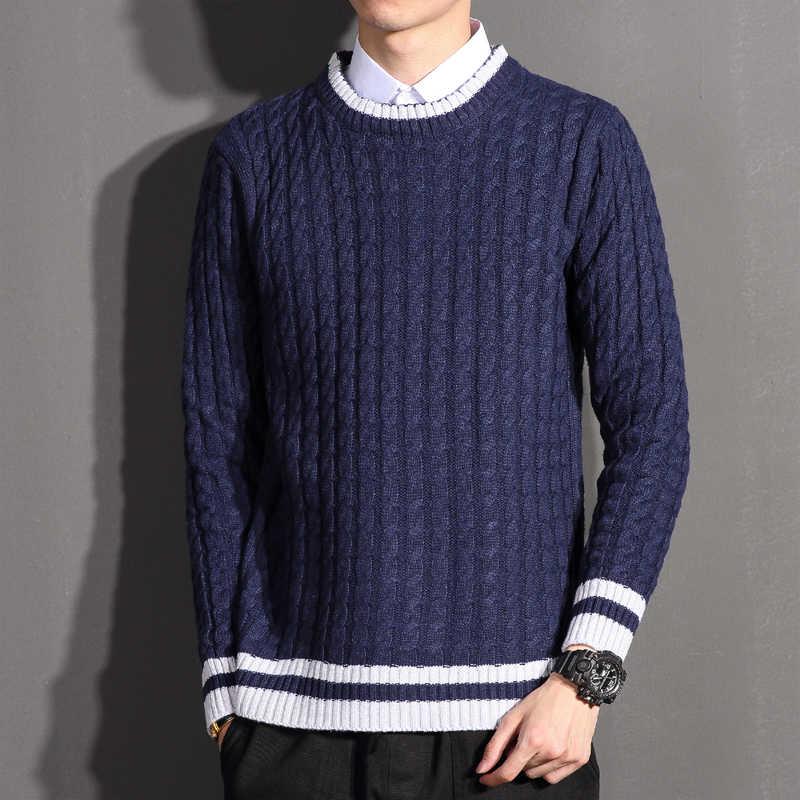 2019 sweter mężczyźni jesień zima wełny sweter w paski moda okrągły kołnierz Knitting męski sweter na co dzień swetry swetry topy
