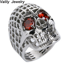 Valily Men Silver Red Eye Ring Skull Big Hollow Motorcycle Biker Rings Stainless Steel For Leshommes sonnent des bijoux