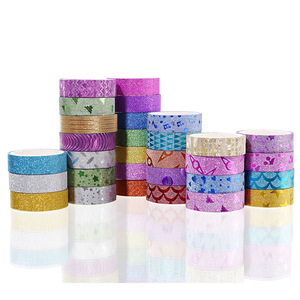 10PCS Glitter Washi Tape Stationery Scrapbooking Decorative Adhesive Tapes DIY Color Masking Tape School Supplies Papeleria
