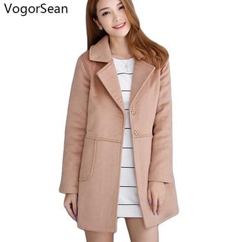 c827466d0 2018 New Wool Long Coat Jacket Women Warm Winter Turn-Down Coat