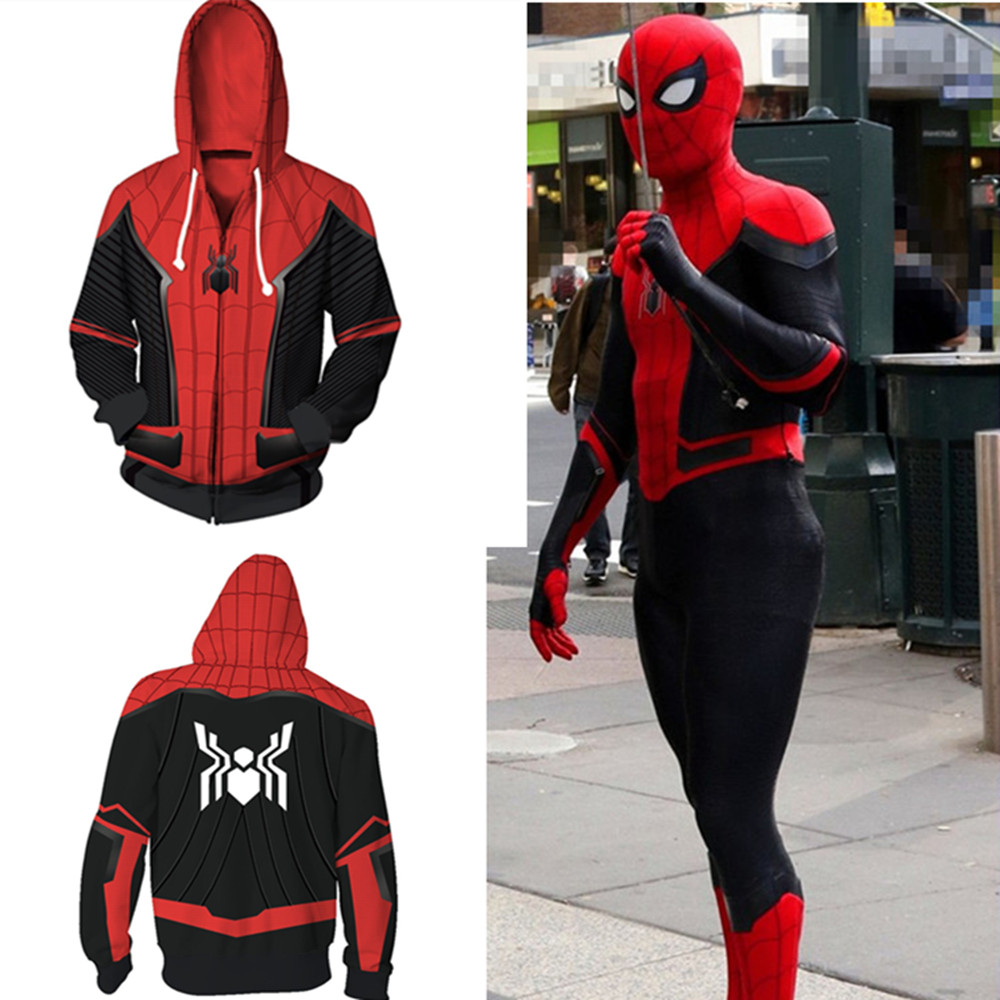 Spider-Man: Far From Home Cosplay Costume Spider 3D Printing zipper Sweatshirts Hooded sweater fashion Men and women Jackets