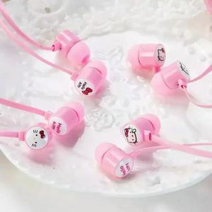 Image 4 - Auriculares intrauditivos estéreo con dibujos de Hello Kitty, color rosa, bonitos, de 3,5mm, con micrófono, para teléfono con bolsa de almacenamiento
