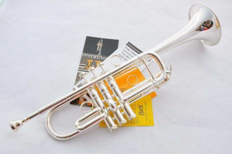 Tom de prata Banhado A Vincent Bach C Profissional Tromba LT197GS Principais Instrumentos Musicais Trompete Trompete estojo DE COURO DURO