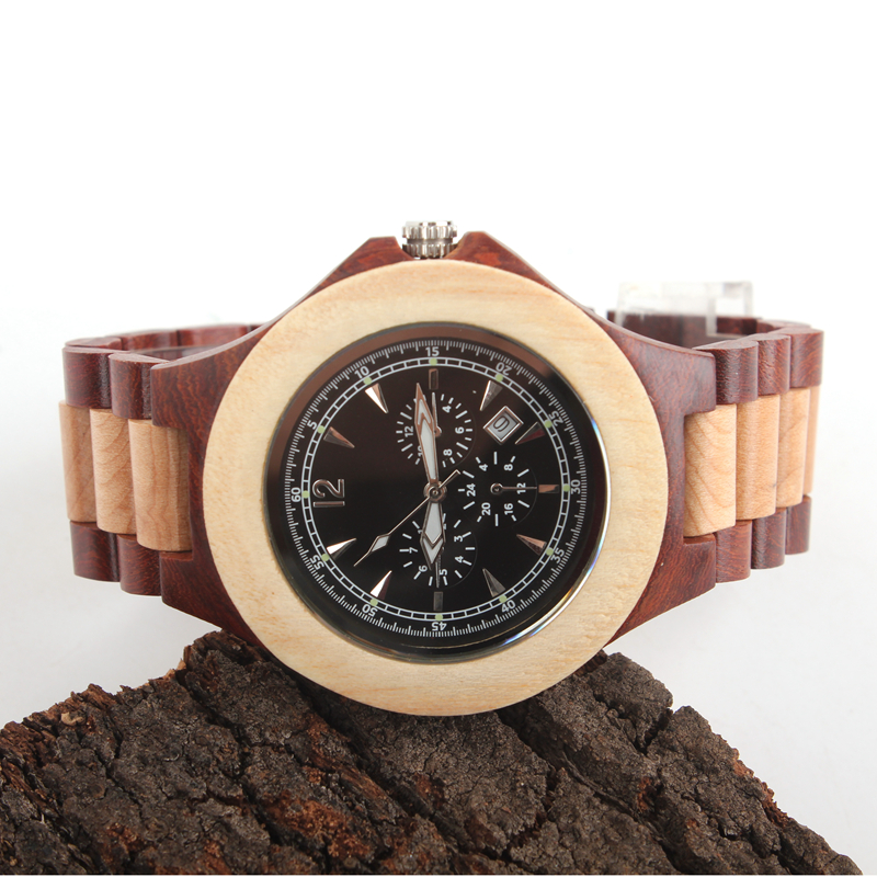 ФОТО Natural wood watch, red sandalwood maple case, black literally handy vegetarian quartz casual watch, calendar, wa-5603E-2