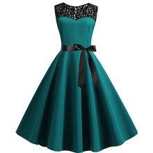 Vestido de chamsgend Vestidos de fiesta para mujer Vestidos Vintage 1950s sin mangas Sexy ajustado encaje empalme sólido vestido de fiesta swing 12FEB26
