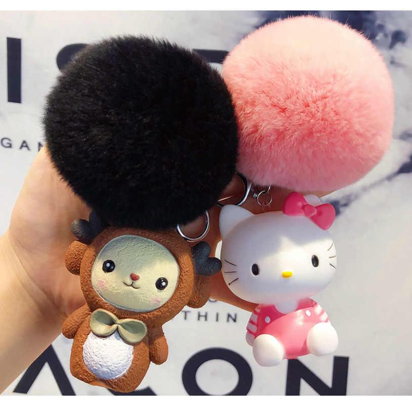 Fofo Chaveiro Bola de Pêlo de Coelho Bonito Dos Desenhos Animados bonecas BB Gato Totoro Porco Pele De Coelho Pompom Saco Chaveiro Carro Das Mulheres anel chave