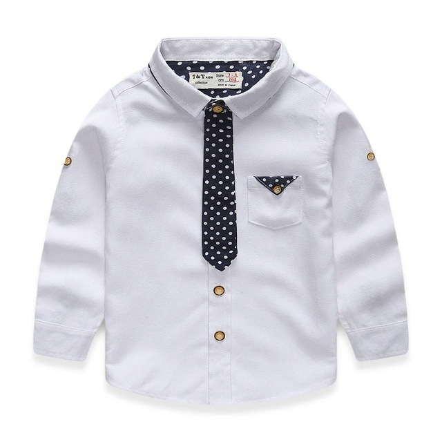 1b461d49381 2-7 Years Kids Boys Shirt Long Sleeve Turn Down Collar Cotton Oxford Baby  Boys Dress Shirt 2015 New Autumn Children Clothing