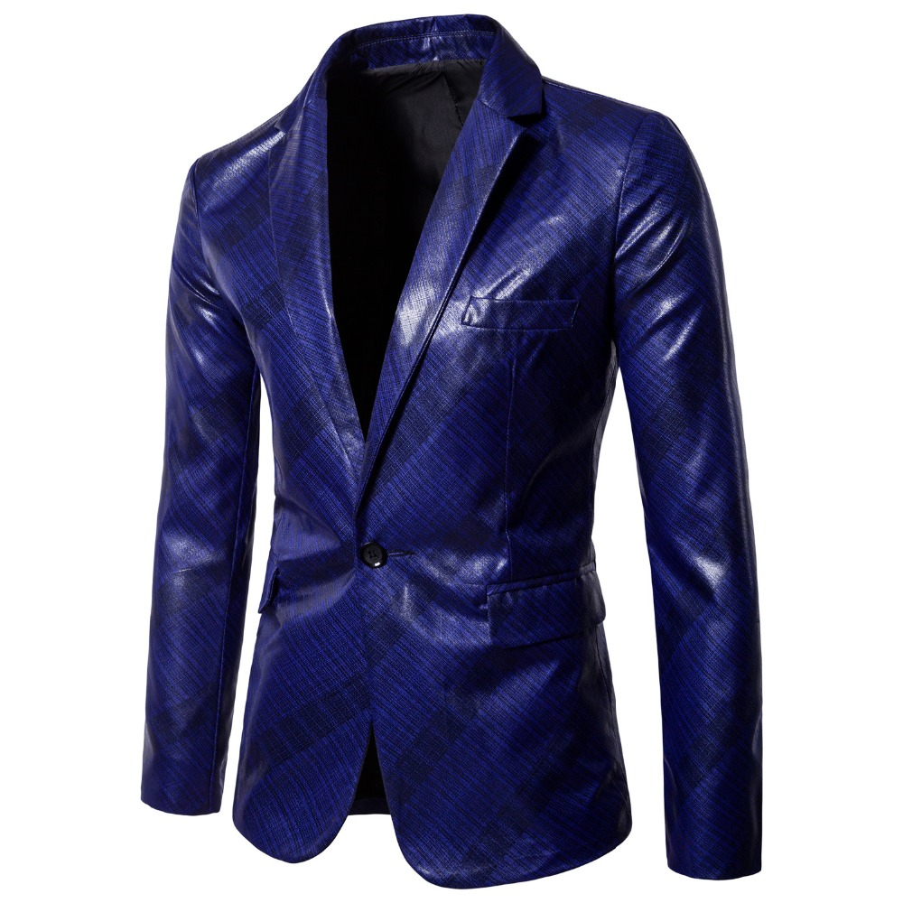 Mens Blazer Suit Leather Jacket Casual Men Blazer PU Slim England Suit Blazer Masculino Male Jacket Navy