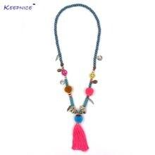 Новое Розовое Ожерелье с кисточками и помпонами богемное длинное
