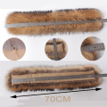 100% Genuine Real Raccoon Gog Fur Collar 70cm Longth 16cm Width Winter Natural Real  Fur Hot Selling Collars for women