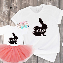 2019 Happy Easter Shirt Womens Bunny Outfit Matching Family Mom and Daughter Clothes New Fashion Kids Print Top