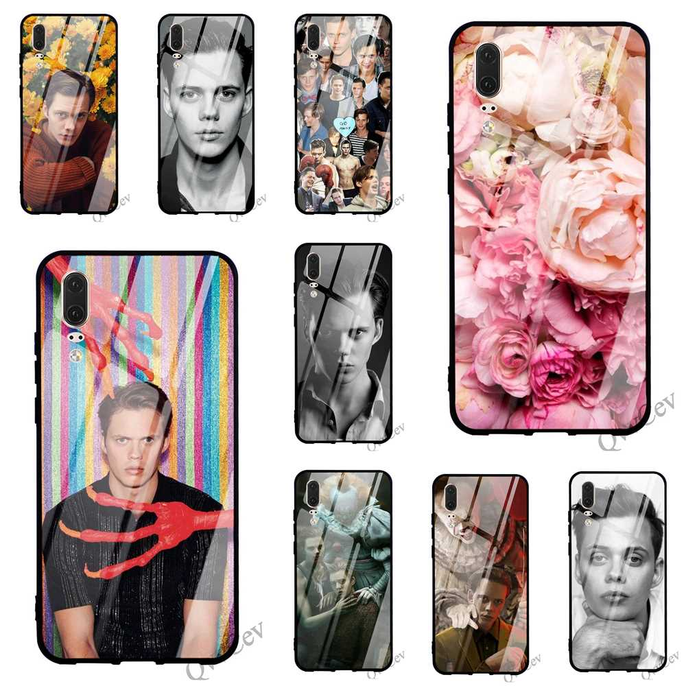Fashion <font><b>Bill</b></font> <font><b>Skarsgard</b></font> Glass Phone Case for Huawei Honor 9 Lite Cover 10 7A Y6 Y9 P10 P20 P Smart Mate 20 Pro Covers image