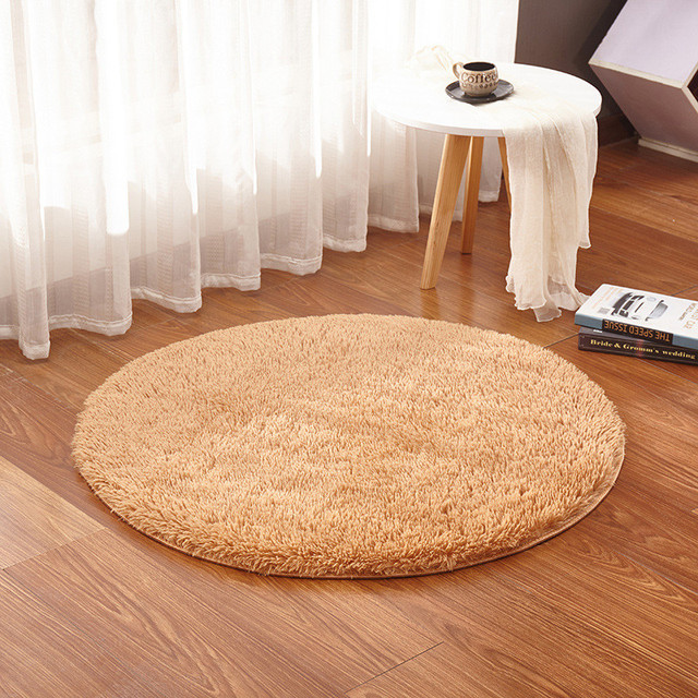 swivel chair on carpet white garden chairs for weddings round solid color simple silk floor mat bedroom study rugs hanging basket computer ottoman blanket