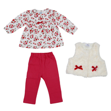 ABWE Baby Girl's Clothing Set Floral Tops+Red Pants+White Vest Kids Clothes Sets