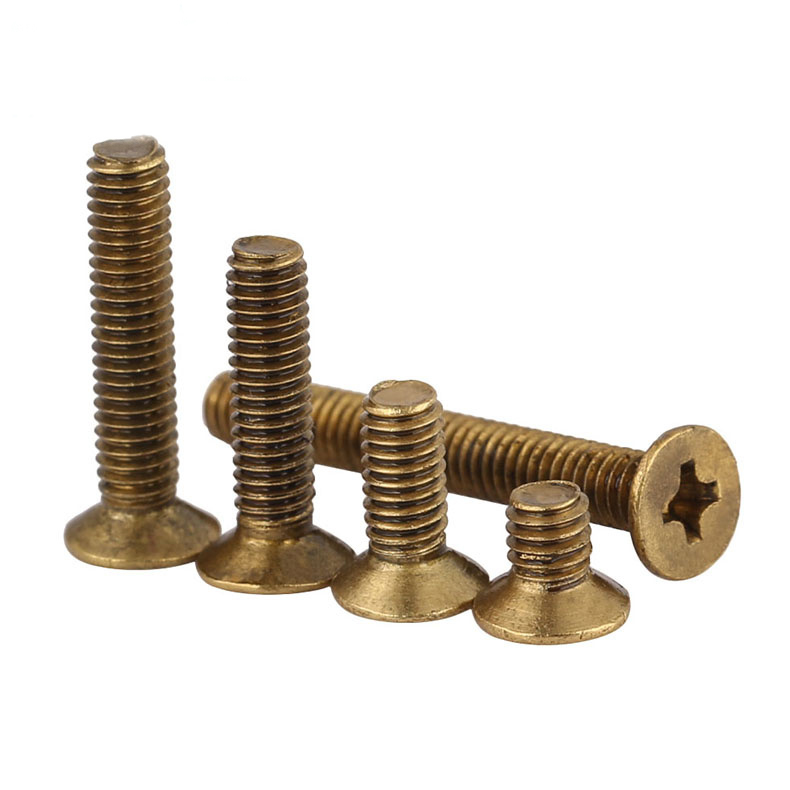 Phillips Brass Flat Head Machine Screw Metric Thread Copper Cross Recess Countersunk Metal Standard Bolt Hardware M2 M2 5 M3 M4 in Screws from Home Improvement