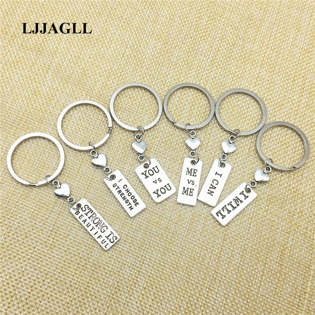 US $3 13 11% OFF|Rhodium Color Metal 6pcs/lot Handmade Keychains Vintage  Sports Charm Fitness Tag strength alphabets Key Chains Diy Make AYSQ129-in