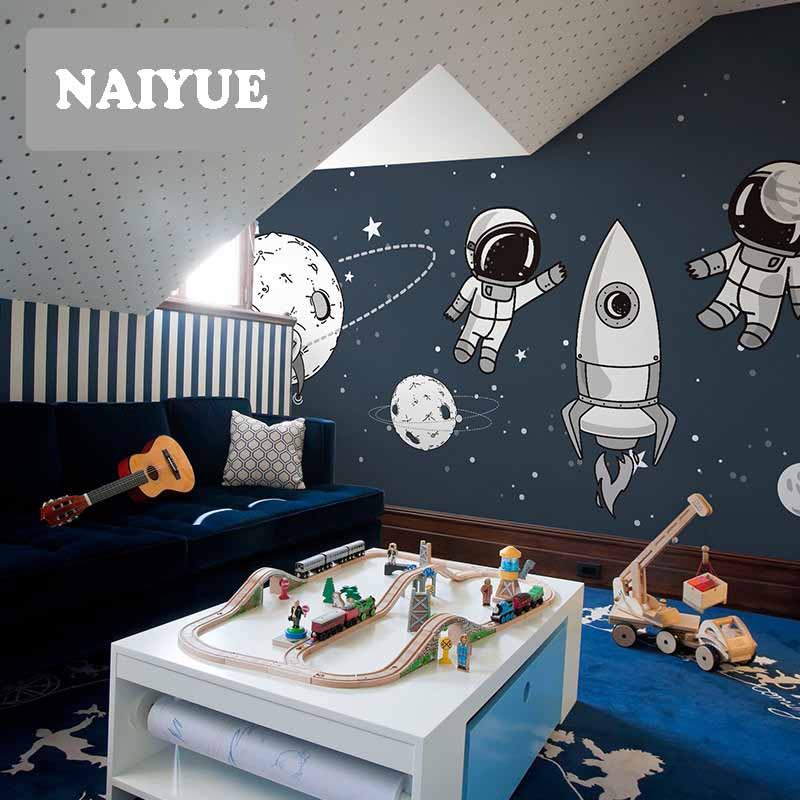 Star space personality wallpaper wallpaper Qiangbu children room Boy Girl Bedroom custom mural swaterproof NAIYUE