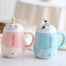 Korean super cat coffee mug ceramic tea cup with cover female student drinkware 15
