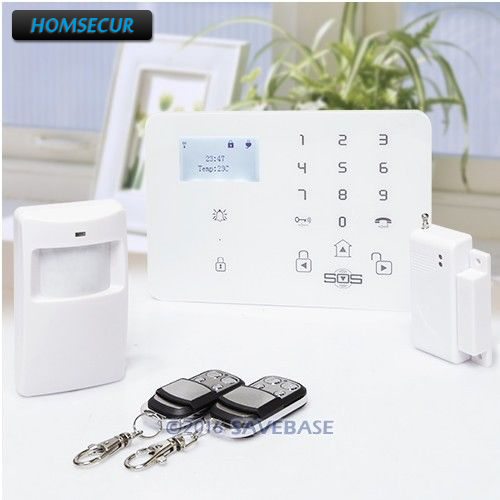 HOMSECUR LCD Wireless wired GSM SMS Autodial Home Alarm System With Temperature Sensor