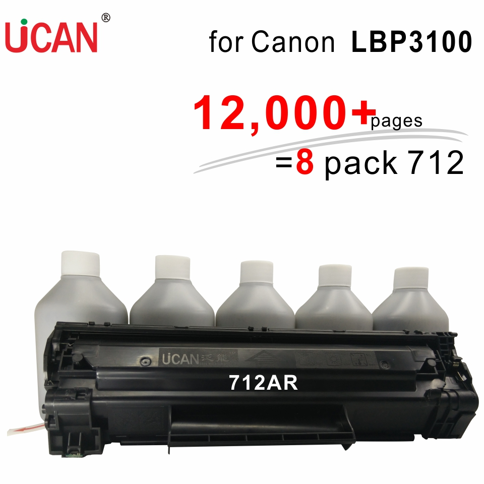 UCAN 12,000 pages CTSC(kit) for Canon LBP 3100 3100mfp Laser Printer equivalent to 8-Pack CRG 712 Toner Cartridges high quality black laser toner powder for canon crg 305 crg 527 crg305 lbp8630 lbp8620 lbp8610 1kg bag printer
