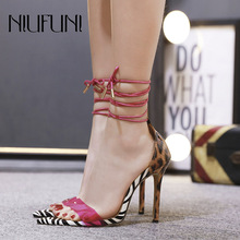 Transparent Color Matching Womens Sandals Leopard Zebra Pattern Super High Heels Fashion Sexy NIUFUNI 2019 Summer Ladies Shoes