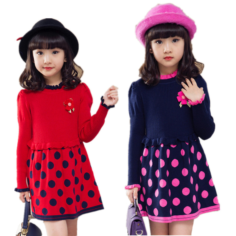MBBGJOY Girls Knitted Dress Flower Autumn Winter Children Clothing 120-160cm Kids Sweater Dresses Dots Children Girl Knit Dress girls dress winter 2016 new children clothing girls long sleeved dress 2 piece knitted dress kids tutu dress for girls costumes