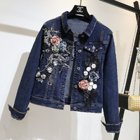 Women Basic Coat Denim Jacket Women Spring Fall Denim Jacket Jeans Jacket Lady New Embroidered Flowers Show Thin Denim Clothes