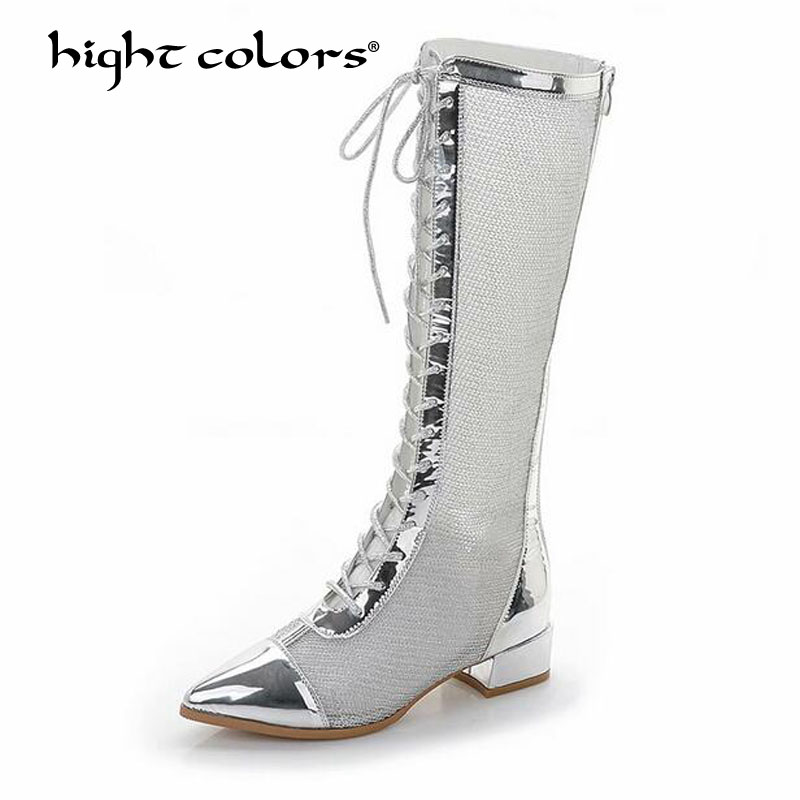 HIGHT COLORS Brand Woman Square High Heel Lace Up Riding Boots Pointed Toe Side Zipper Dress Black Silver Knee High Boots 7392