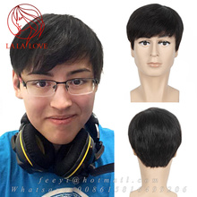 New Fashion Men's Human wig hair toupee men or women short Human Natural hair wigs inch flat head men's wigs straight Full Wigs